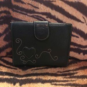 Brighton black leather wallet w/white ❤️stitching